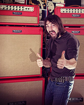 MESA Artist Niklas Källgren, guitarist for the Swedish band Truckfighters, pictured here with his twin stacks of Lone Star heads, Lonestar 4x10's and Recto 4x12 cabinets, covered in Red Bronco vinyl with Tan grilles.