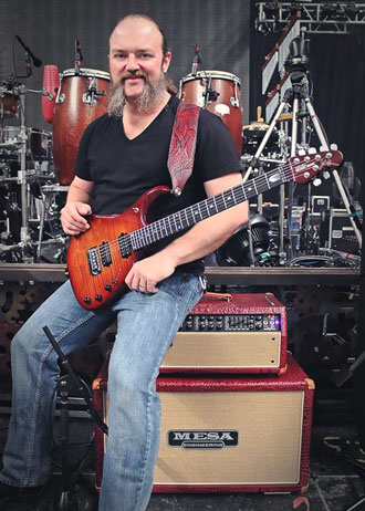 John Driskell Hopkins of Zac Brown Band with his custom Red Crocodile embossed leather/Tan Grille Mark V head and matching 2x12 Rectifier Horizontal cabinet.