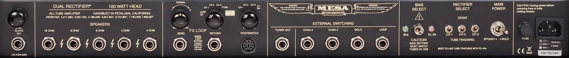 Mesa Boogie Dual rectifier Rear Panel