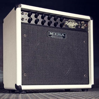 Recto-Verb 1x12 in Hot White Bronco with Black Knurled Knobs, Black Grille and Black Piping.