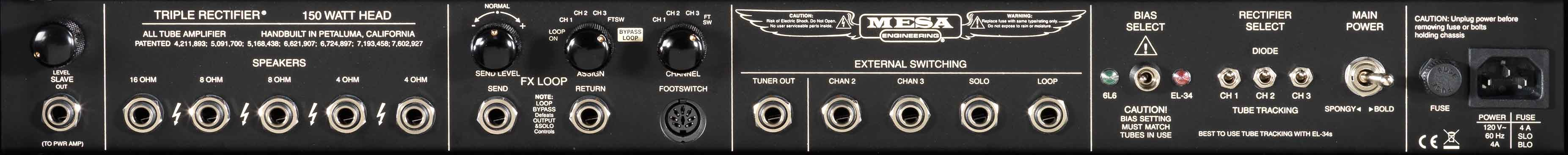 Triple Rectifier Rear Panel