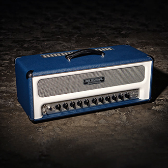 Royal Atlantic Head in Blue & Hot White Bronco with a Gray & Black Grille.
