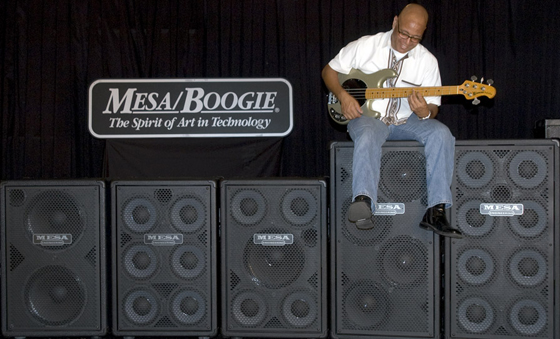 Session Bassist Al Kamai sits atop the large cabs in the Mesa Powerhouse Bass Cab Line
