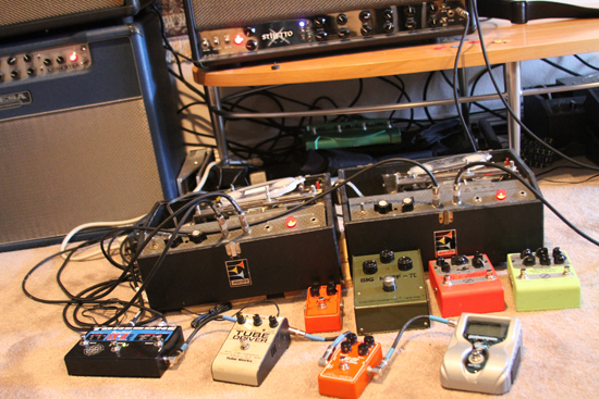 Andy's pedal array with Echoplex, Big Muff, GNI Octavia and others...