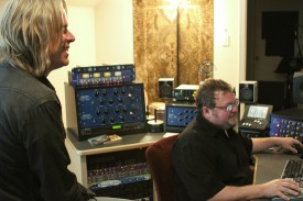 Andy & Engineer/Co-Producer Rob Wechsler in the control room at Rob's Studio