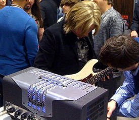 Andy Timmons & Steve Mueller dialing in the TransAtlantic TA-15 NAMM 2010