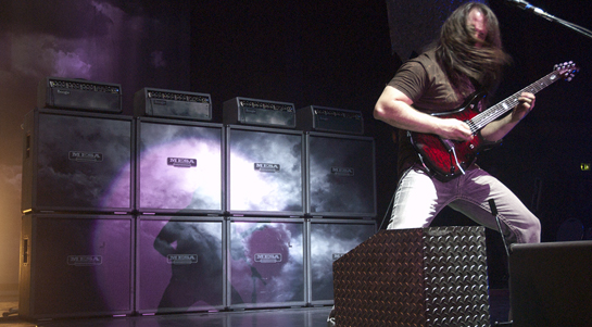John Petrucci with rock engaged and the Mark V 'Cloud Rig'