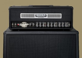 Rectifier head in Black Vinyl with Black Jute Front Panel and Brushed Aluminum Front Vent on a Rectifier Standard 4x12 cab