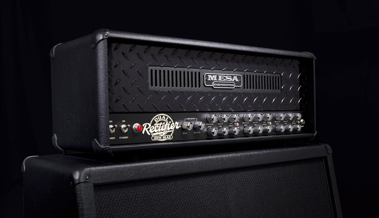 Triple Rectifier head in Black Vinyl with Black Diamond Plate Front Panel and Black Anodized Front Vent on Rectifier Standard 4x12 Cab