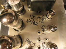 Mark IIB Amplifier with tech and assembly date on the underside of the amplifier between all the tubes