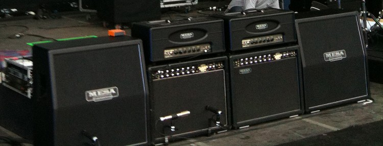 Electra Dyne heads, Stiletto 4x12 Slants and some vintage Tremo-Verb 2x12 combos on Kim Thayil's side of the Soundgarden stage