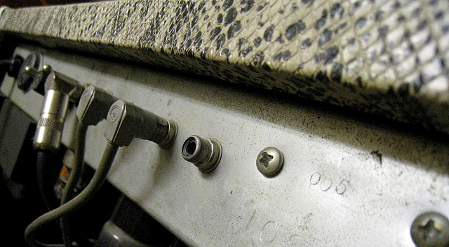Photo of the serial number 005 on an Original Mark I combo that guards Randall Smith's office