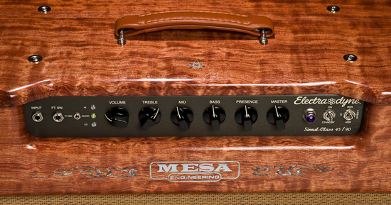 Electra Dyne combo in Private Reserve Quilted Bubinga Hardwood with Tan Grille and Custom Logo Inlays