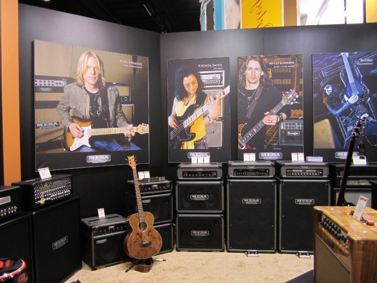 Mesa/Boogie endorsed artists above Mesa Bass products, Rectos and custom hardwoods