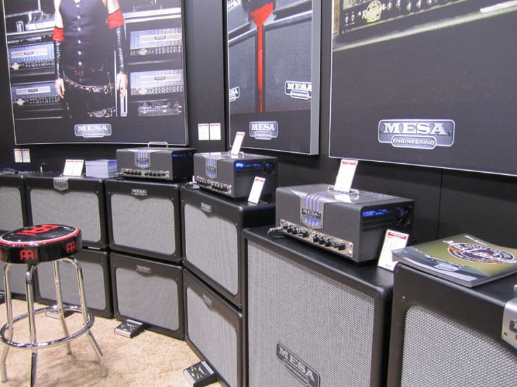 Mesa/Boogie 2011 Musikmesse booth with TransAtlantic TA-15 & TA-30 across many cabinet styles