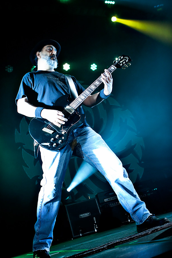 Soundgarden's Kim Thayil stalks the stage at the Bill Graham Civic Auditorium in San Francisco, CA