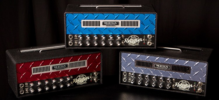 Custom Diamond Plate Mini-Rectifiers, (L-R) Red, Blue & Pewter w/ Black Cage