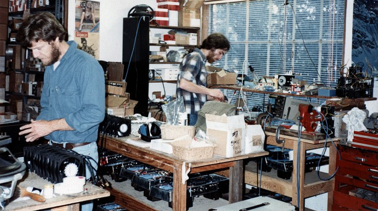 Randall Smith (L) and Mike Bendinelli (R) assembling amps on the benches in Lagunitas, CA - circa 1976