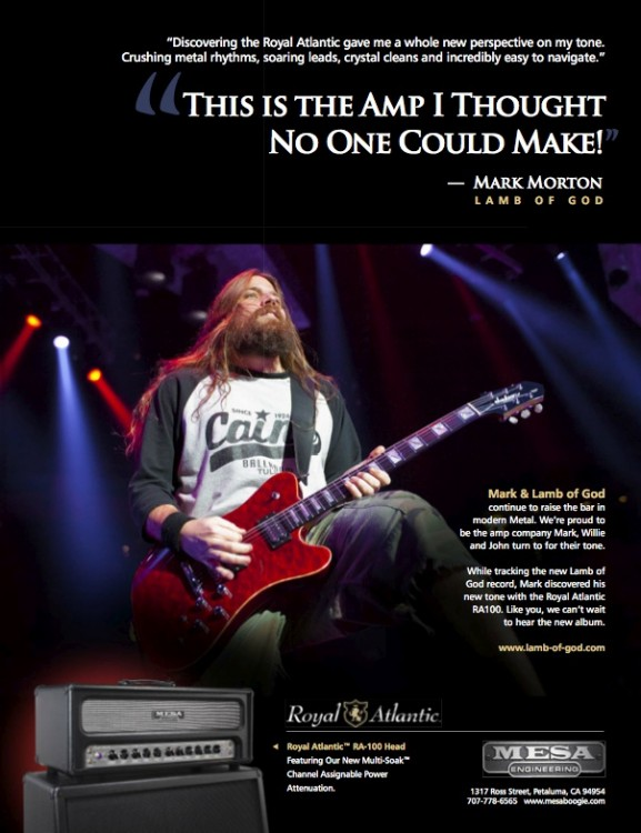 Mark Morton MESA/Boogie Royal Atlantic RA-100 Ad