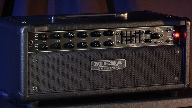 The MESA Express 5:50+ Head on top of a 4x12 Rectifier Standard Cab