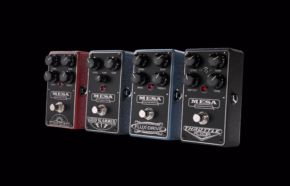 Mesa Drive Pedals (L-R): Tone-Burst, Grid Slammer, Flux-Drive and Throttle Box