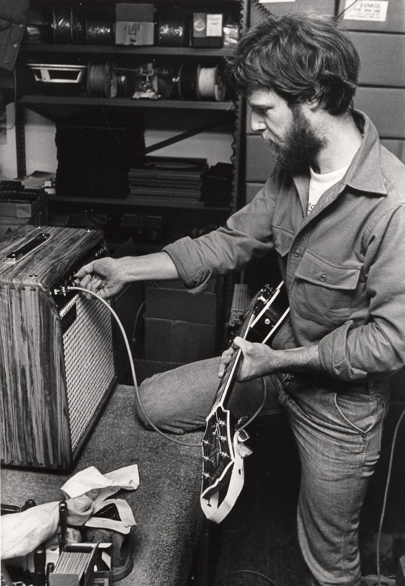 Randall Smith in a RARE playtesting moment of a sweet hardwood Mark series amp