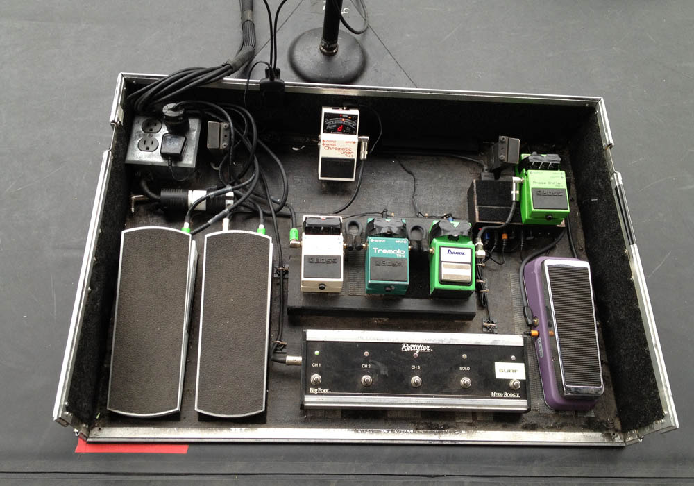 Jimmy Stafford's pedal board with Mesa Rectifier Footswitch at the front