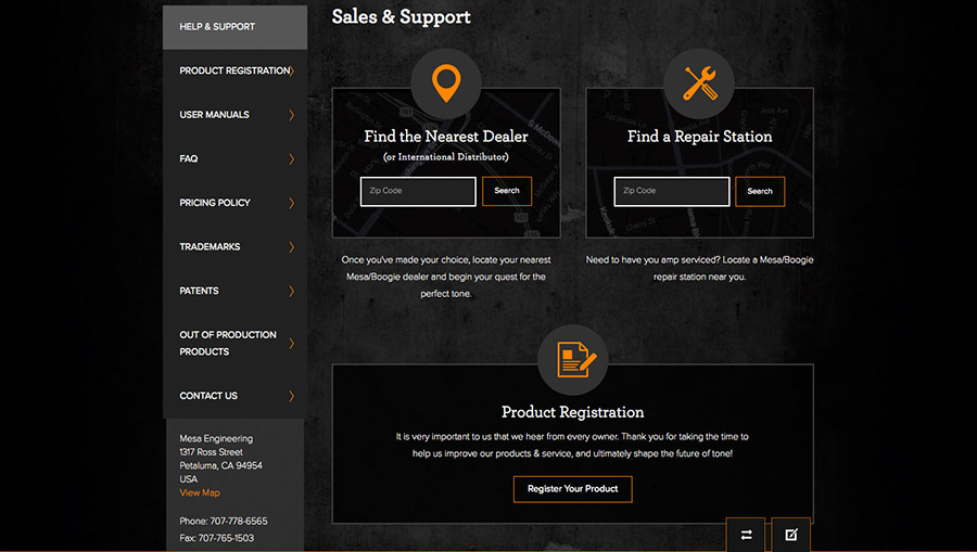 MESA/Boogie Website Dealers And Support Locator
