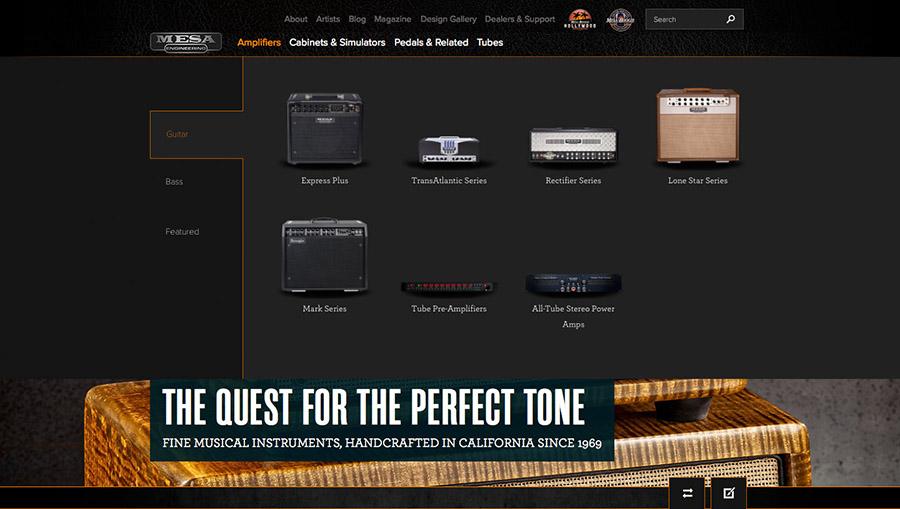 MESA/Boogie Website Enhanced Navigation & Product Info