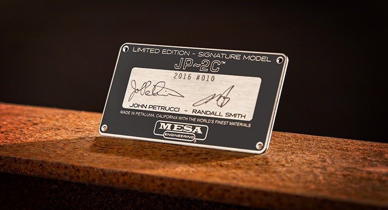 Limited Edition Certification Plate signed by John Petrucci and Randall Smith, only found on the JP-2C Limited