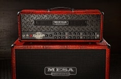Triple Rectifier Antique Red Croc with Black Diamond Plate